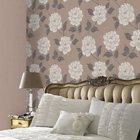 Colours Ella Stone Floral Textured Wallpaper