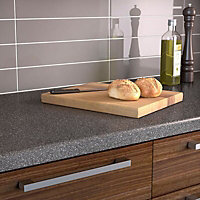 34mm Graphite Matt Dark grey & white Acrylic Kitchen Round edge Worktop (L)3000mm