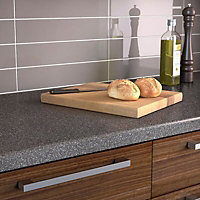 34mm Graphite Matt Dark grey & white Acrylic Kitchen Round edge Worktop (L)3000mm