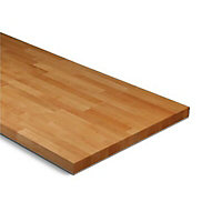27mm Solid beech Square edge Kitchen Worktop, (L)3000mm