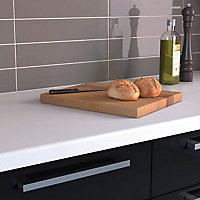 34mm Nordic Grey & white Stone effect Earthstone Round edge Kitchen Breakfast bar Worktop, (L)3000mm