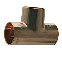 Copper End feed Tee (Dia)15mm, Pack of 10