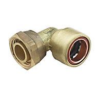Plumbsure Push fit Bent tap connector (Dia)15mm