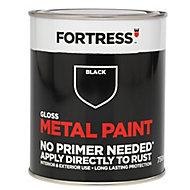 Fortress Black Gloss Metal paint, 0.75L