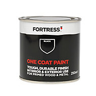 Fortress One coat Black Matt Wood & metal paint 0.25L
