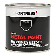 Fortress Black Satin Metal paint 250 ml