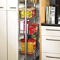 Larder system Silver effect Pull out storage, (W)600mm