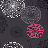 B&Q Lucienne Charcoal & pink Floral Wallpaper
