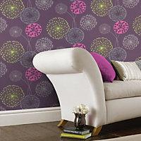 B&Q Lucienne Purple Floral Wallpaper
