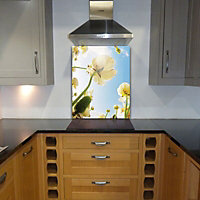 Off The Wall Creations Flowers & sky Multicolour Glass Splashback, (H)745mm (W)595mm (T)6mm