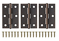 Brass-plated Antique effect Metal Butt Door hinge (L)75mm, Pack of 3