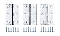 Chrome-plated Metal Butt Door hinge (L)75mm, Pack of 3