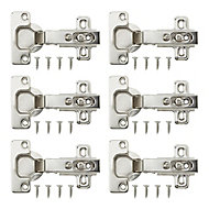 Nickel-plated Metal Unsprung Concealed hinge (L)35mm, Pack of 6