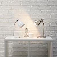 Shelley Brushed Nickel effect CFL Desk lamp