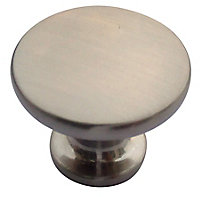 Nickel effect Zinc alloy Round Knob (Dia)38mm, Pack of 6