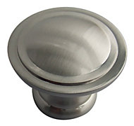 B&Q Satin Nickel effect Round Furniture knob, Pack of 6
