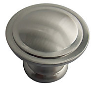 Nickel effect Zinc alloy Round Furniture Knob (Dia)35mm, Pack of 6