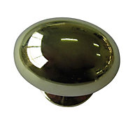 B&Q Polished Brass effect Oval Furniture knob, Pack of 6