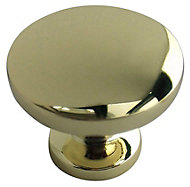 B&Q Polished Brass effect Round Furniture knob, Pack of 6