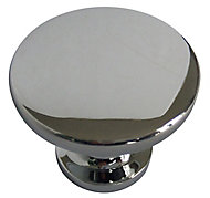 Chrome effect Zinc alloy Round Furniture Knob (Dia)38mm, Pack of 6