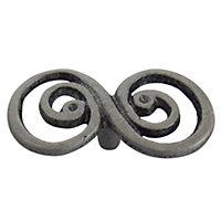 B&Q Pewter effect Double Swirl Internal Knob Cabinet knob (D)63.5 mm