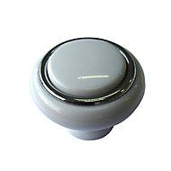 B&Q White Gloss Chrome effect Round Internal Knob Cabinet knob (D)40 mm