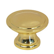 B&Q Polished Gold effect Round Internal Knob Furniture knob (D)29.7 mm