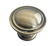 Antique brass effect Zinc alloy Round Cabinet Knob (Dia)34.3mm