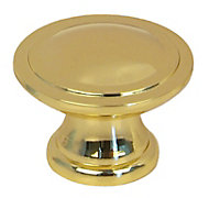 Polished Brass effect Zinc alloy Round Furniture Knob (Dia)34.3mm