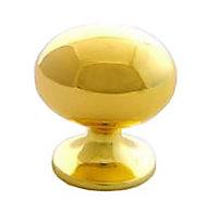 B&Q Polished Brass effect Oval Internal Knob Furniture knob (D)33 mm