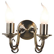 Priory Brass effect Double Wall light