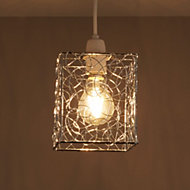 Scribble Silver effect Cube Light shade (D)130mm