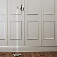 Keats Grey Nickel effect CFL Floor lamp