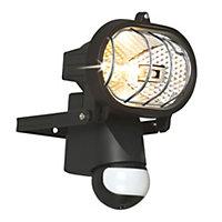 B&Q Polaris Black 150W Mains powered External PIR security flood light