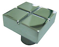Chrome effect Square Knob (D)20, Pack of 1