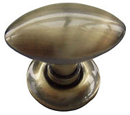 B&Q Brass effect Oval Furniture knob, Pack of 1