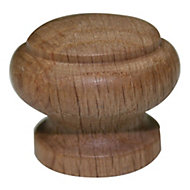B&Q Oak Lacquered Round Furniture knob, Pack of 1