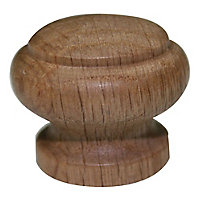 Brass effect Oak Round Furniture Knob