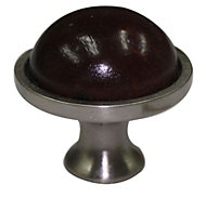 B&Q Beech Walnut effect Round Cabinet knob (L)34mm, Pack of 1