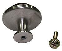 B&Q Beech Walnut effect Round Cabinet knob (L)34mm, Pack of 1