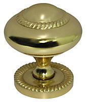 B&Q Brass effect Round Furniture knob (L)42mm, Pack of 1