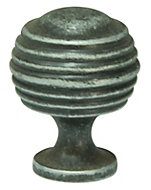 Cooke & Lewis Hammered Pewter effect Round Cabinet knob, Pack of 1
