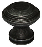 B&Q Pewter effect Round Furniture knob, Pack of 1