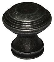 B&Q Pewter effect Round Furniture knob, Pack of 1