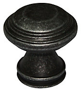 Pewter effect Zinc alloy Round Furniture Knob (Dia)32mm