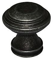 Pewter effect Zinc alloy Round Furniture Knob (Dia)32mm