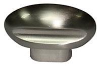 B&Q Satin Nickel effect Oval Furniture knob (L)43mm, Pack of 1