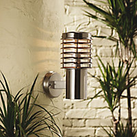 Clipper Brushed Stainless steel effect Mains-powered Outdoor Wall light