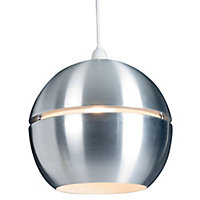 Rainbow Brushed Silver effect Spherical Light shade