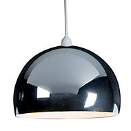 B&Q Horizon Chrome effect Domed Light shade (D)300mm